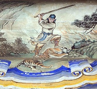 Wu Song - An illustration of Wu Song at the Long Corridor in the Summer Palace, Beijing.