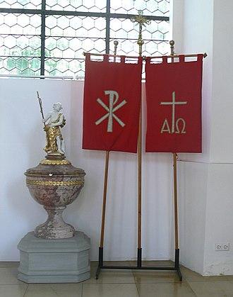 Labarum - Modern ecclesiastical labara (Southern Germany).