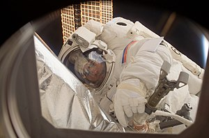 Yuri Malenchenko - Expedition 16 flight engineer Yuri Malenchenko participates in a spacewalk.