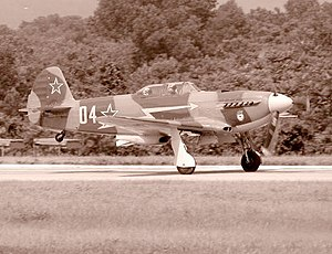Yakovlev Yak-9 - Modern built Yak-9 on takeoff at World War II Air Show, Reading, PA, 2002