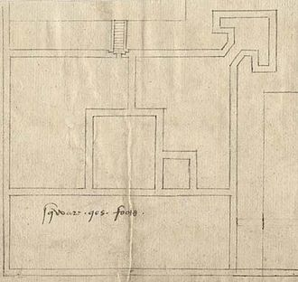 """Yarmouth Castle - 1559 plan of the castle, showing the original courtyard design, the """"arrow-head"""" bastion and the surrounding moat"""