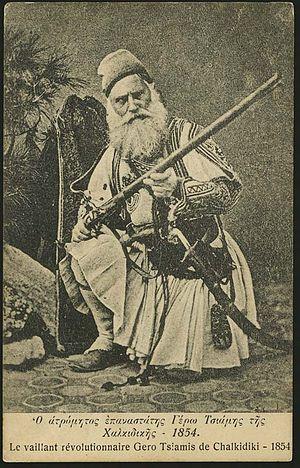 "Dimitrios Karatasos - An armed Yero-Tsamis (""Elder Tsamis"") in 1854, aged ca. 56."