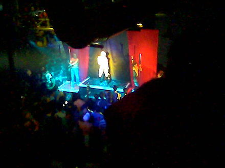 Crocker performing with back-up dancers at gay disco club Ice in Hamtramck, Michigan in October 2007 YouTube Celebrity.jpg
