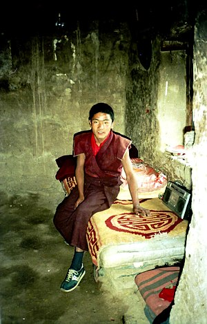 Retreat (spiritual) - Young monk in meditation retreat, Yerpa, Tibet in 1993