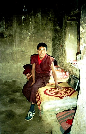 Young monk in meditation cell, Yerpa, Dagze County, 1993 Young monk in meditation cell, Yerpa, Tibet. 1993.jpg