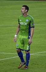 A man wearing a green soccer uniform standing on a field.