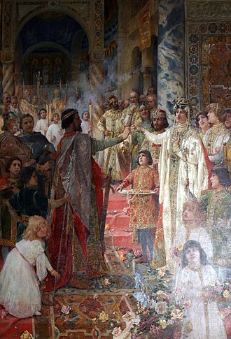 Ladislaus I of Hungary -  Betrothal of King Zvonimir, a picture by Mato Celestin Medović