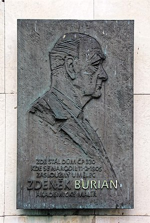 Zdeněk Burian - Memorial plaque of Zdeněk Burian in Kopřivnice