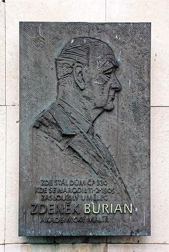 Zdeněk Burian - Memorial plaque of Zdeněk Burian in Kopřivnice
