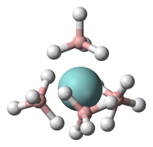 Borohydride - Ball-and-stick model of Zr(BH4)4