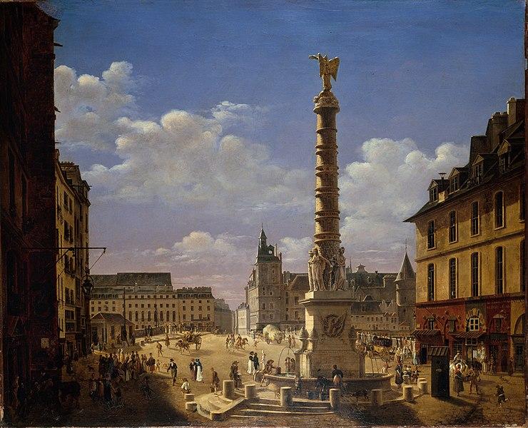 Fichier:Étienne Bouhot - La place et la fontaine du Châtelet - P1286 - musée Carnavalet.jpg
