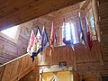 Інтер'єр церкви Покрови на Хортиці - Корогви та сходи.jpg