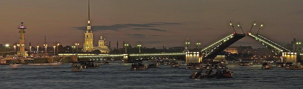 Вид на Стрелку Васильевского острова, Петропавловскую крепость, Дворцовый мост через Неву в Белые ночи.