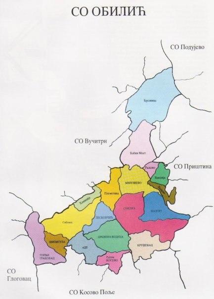 Карта Општине Обилић
