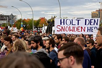 Millennials - A rally in Berlin in support of NSA whistleblower Edward Snowden