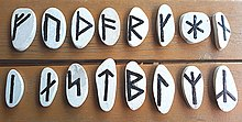 02 Runes of the Younger Futhark painted on little stones - Runen des jüngeren Futhark auf kleine Steine gemalt.jpg