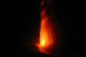Volcano - A 2007 eruptive column at Mount Etna producing volcanic ash, pumice and lava bombs