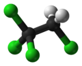 Ball-and-stick model of 1,1,1,2-tetrachloroethane