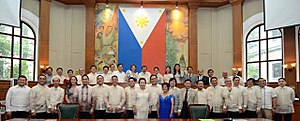 Joseph Estrada - Estrada (center, back row) with members 10th City Council of Manila in July 13, 2016. Elected in 2013 as Mayor of Manila, he was reelected again in 2016.