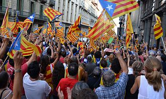 2012 Catalan independence demonstration - Via Laietana, Barcelona