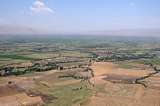 Kunduz Province - An aerial view from the window of a Blackhawk helicopter between Balkh Province and Kunduz Province