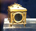 15th century casket for relics in copper and gold set with precious stones- side detail- Monte Cassino Museum.JPG
