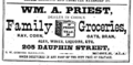 1875 Priest grocer advert Dauphin Street in Mobile Alabama.png