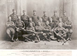 Baseball cap - Portrait of Cincinnati Reds players, 1888