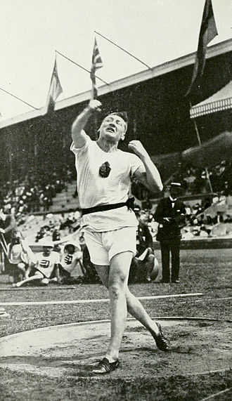 Athletics at the 1912 Summer Olympics – Men's discus throw - Armas Taipale in action.