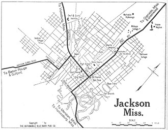 Map of Jackson in 1919 1919 map Jackson, Mississippi Automobile Blue Book.jpg
