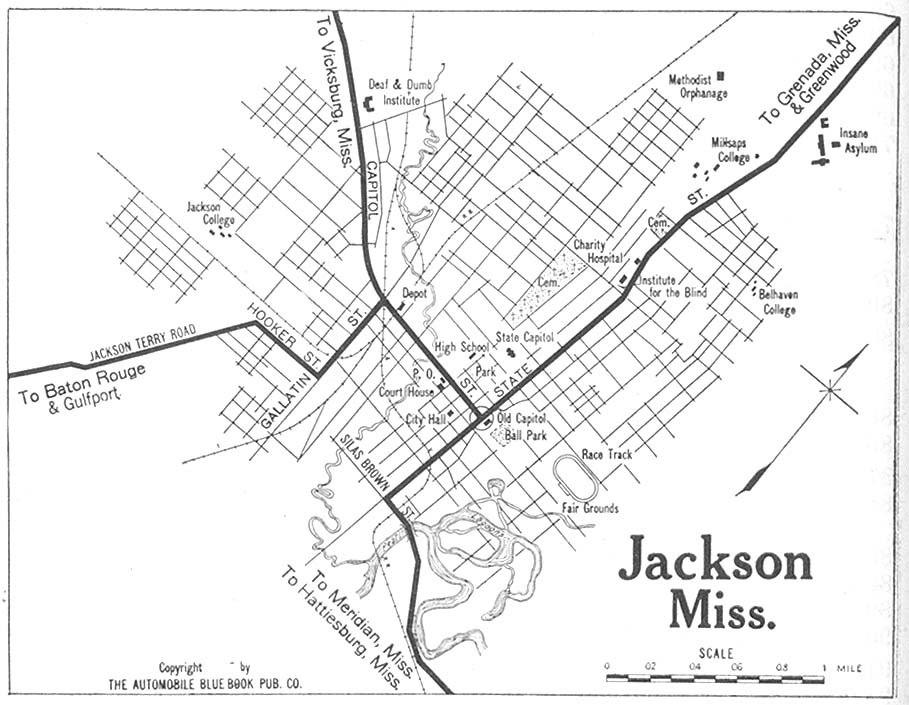 1919 map Jackson, Mississippi Automobile Blue Book