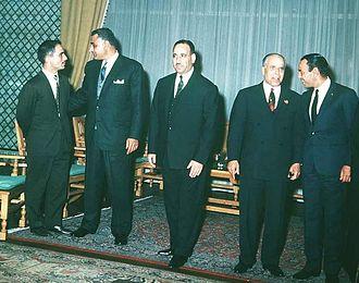Abdul Salam Arif - Arab leaders at the 1964 Arab League summit in Alexandria. From left to right: Hussein of Jordan, Gamal Abdel Nasser, Arif, Habib Bourguiba and Hassan II of Morocco