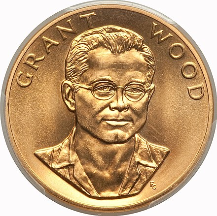 1980 Grant Wood One-Ounce 24-karat Gold Medal 1980 Grant Wood One-Ounce Gold Medal (obv).jpg