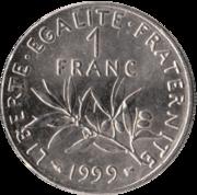 Revers d'une pièce d'1 franc de l'année 1999.