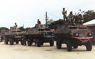 1981 Entumbane uprising - 1RAR troops atop MPCV vehicles prior to Entumbane