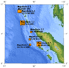 Earthquake epicenters off the coast of Indonesia