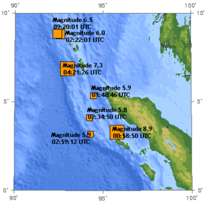 Weh Island - Earthquakes around Aceh and Andaman Sea in 2004