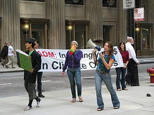 English: Rainforest Action Network activists, ...