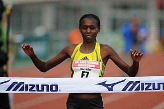 Hilda Kibet - Kibet taking third at the 2009 Amsterdam Marathon.