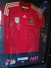 96422fbca Autographed jersey of the Spain national football team that was  manufactured by Adidas for the 2014 FIFA World Cup