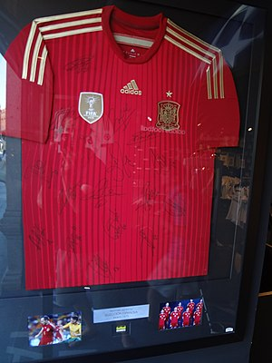 2010 FIFA World Cup - A Spain shirt, autographed by members of the World Cup-winning squad, on display in Madrid