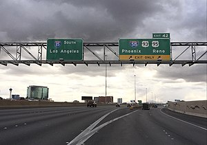 Interstate 15 in Nevada - View south along I-15 at Exit 42 (I-515, US 93, US 95) in Las Vegas