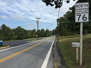 Maryland Route 76 - View north along MD 76 in Rocky Ridge