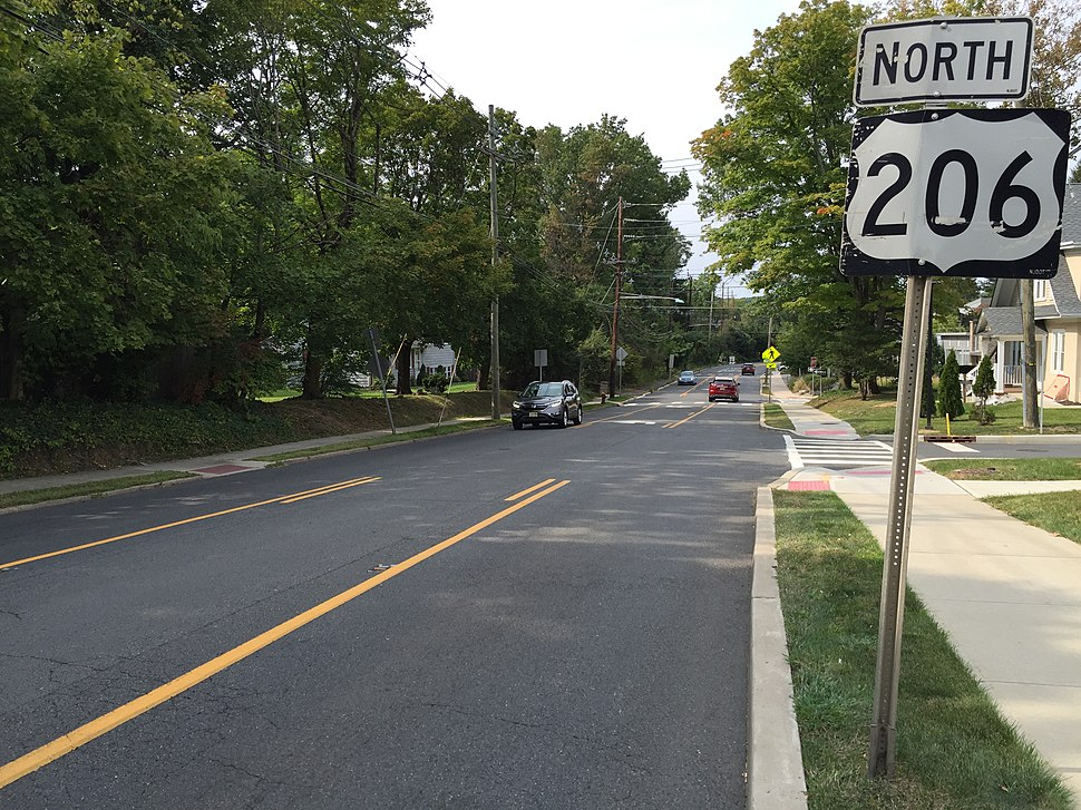 2017-09-12 15 14 07 View north along U.S. Route 206 and Mercer County Route 533 (Bayard Lane) at Stanworth Drive in Princeton, Mercer County, New Jersey