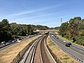 2018-10-25 11 28 29 View west along Interstate 66 (Custis Memorial Parkway) and the Orange and Silver lines of the Washington Metro from the overpass for U.S. Route 29 and westbound Virginia State Route 237 (Lee Highway) in Arlington County, Virginia.jpg