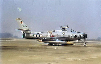55th Fighter Squadron - Republic F-84F-45-RE Thunderstreak, Serial 52-6703 of the 55th Fighter-Bomber Squadron.