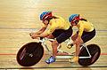 211000 - Cycling track Tania Modra Sarnya Parker action 2 - 3b - 2000 Sydney race photo.jpg