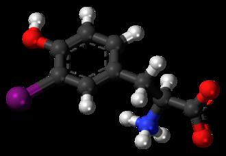 3-Iodotyrosine - Image: 3 Iodotyrosine zwitterion 3D ball
