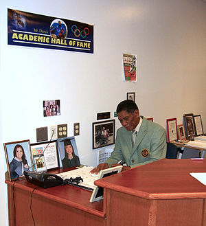 Otis Davis - Davis in 2012, at his desk at Union City High School in Union City, New Jersey, where he works as a verification officer, coach and mentor.