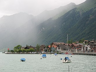 Brienz - A western view of Lake Brienz in the summer, taken from the quay at Brienz